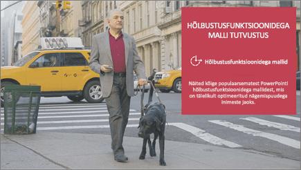Nägemispuudega inimestele mees kõnnib, keda nähes silma koerast