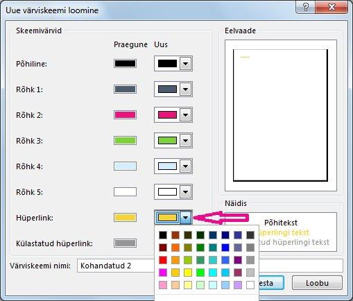 Publisheri uue värviskeemi loomine hüperlinkide värvi muutmiseks
