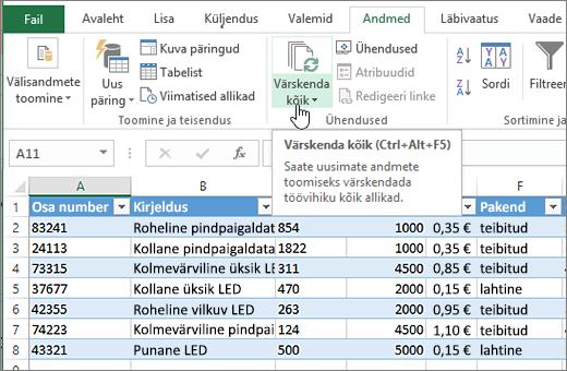 """Exceli arvutustabel koos imporditud loendi ja nupu """"Värskenda kõik"""" esiletõstuga."""