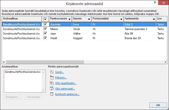 """Dialoogiboks """"Kirjakooste adressaadid"""", milles on kuvatud postitusloendi andmeallikaks oleva Exceli arvutustabeli sisu"""