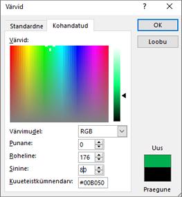 Kuvatakse kohandatud värvid