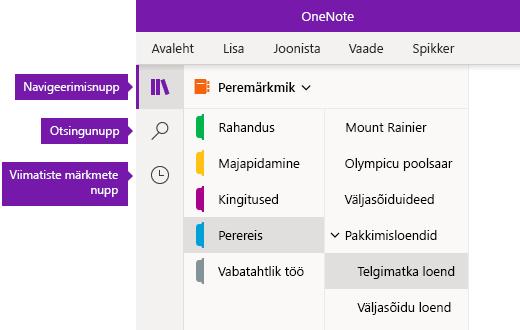 Navigeerimisriba OneNote'is Windows 10 jaoks