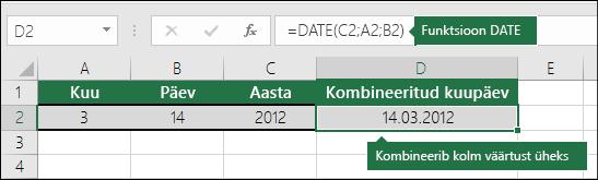 1. näide funktsiooni DATE kohta