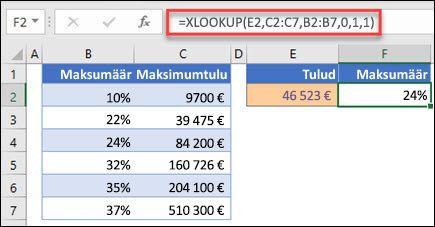 Pilt XLOOKUP, mida kasutatakse maksumäära tagastamiseks maksimaalse sissetuleku alusel. See on ligikaudne vaste. Valem on: = XLOOKUP (E2; C2: C7; B2: B7; 1; 1)