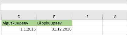 Alguskuupäev lahtris D53 on 01.01.2016, lõppkuupäev on lahtris E53 31.12.2016