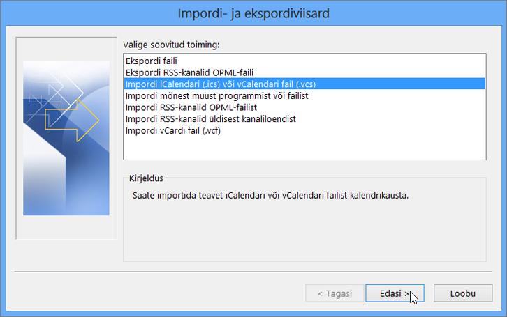 Valige Impordi iCalendari või vCalndari fail.