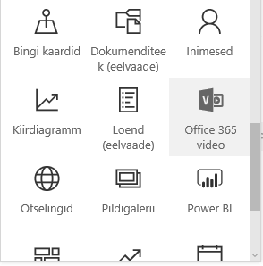 SharePointi Office 365 videoportaali menüünupu kuvatõmmis.