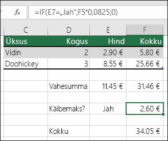 """Lahtris F7 on järgmine valem: =IF(E7=""""Jah"""";F5*0,0825;0)"""