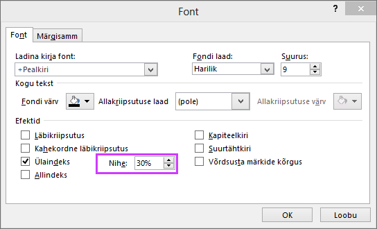 Pilt PowerPointi dialoogiboksist Font