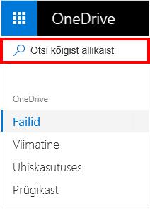 Valik Otsi kõigest OneDrive'is