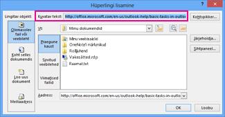 Edit hyperlink dialog box