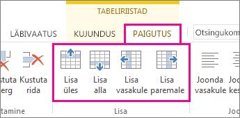 Pilt tabeliridade ja -veergude lisamiseks saadaolevatest valikutest