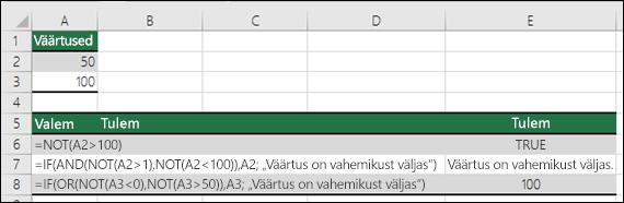 Näited funktsiooni NOT kasutamisest koos funktsioonidega IF, AND ja OR.