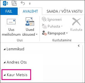Ühiskaust rakenduse Outlook 2013 kaustaloendis