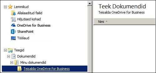 Teenusekomplekti Office 365 teisaldatavate failide vahekaust