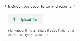 Küsimus rakenduses Microsoft Forms, mis võimaldab faile üles laadida