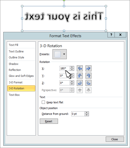 X-3D-pöörde määramine 180