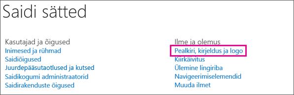 Valige jaotisest Ilme ja olemus suvandid Pealkiri, kirjeldus ja logo.