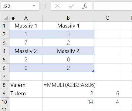 Funktsioon funktsioon MMULT – näide 1