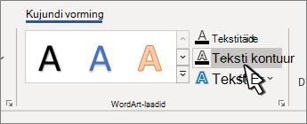 WordArt-laadide teksti liigendus on valitud