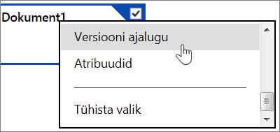OneDrive'i faili versioonide ajaloo menüükäsk