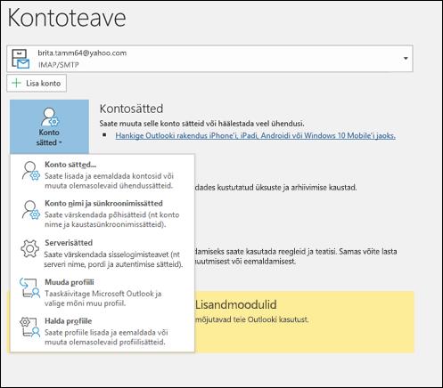 Outlookis saab muuta mitut tüüpi konto sätteid.