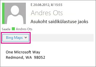 Outlooki sõnum, milles kuvatakse rakendus Bingi kaardid