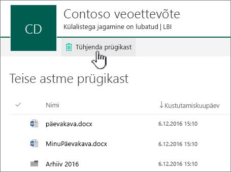 """SharePoint Online'i teise astme prügikast, kus on esile tõstetud nupp """"Tühjenda prügikast"""""""