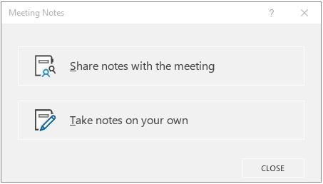 OneNote ' i koosoleku märkmete dialoogiboks