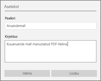 Manusfailidele aseteksti lisamine rakenduses OneNote for Windows 10