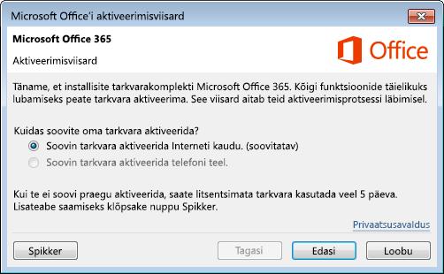 Kujutab Office 365 aktiveerimisviisardit.