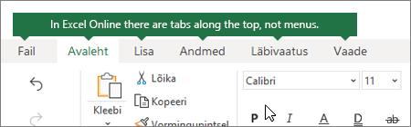 Avaleht, lisada andmed, Kuva vahekaardid veebirakenduses Excel Online