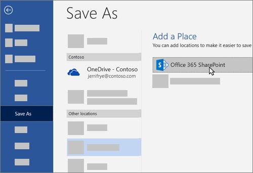 Wordis OneDrive for Businessi lisamine salvestuskohtade hulka