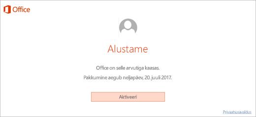 Kuvatakse teie uues arvutis sisalduva Office'i aktiveerimiseks nupp Aktiveeri