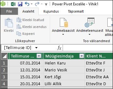 Power Pivoti tabeli kuvamine