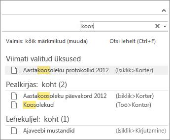 OneNote'ist märkmete otsimiseks saate kasutada otsingut.