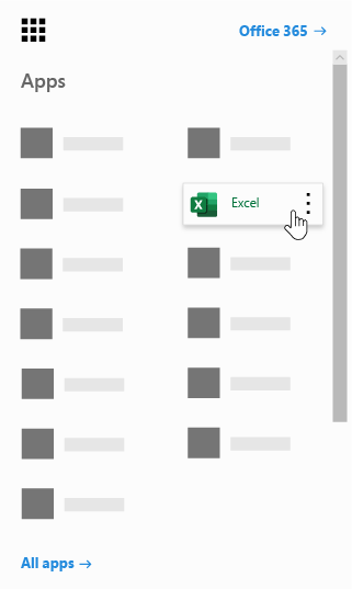 Office 365 rakendusekäiviti koos esiletõstetud Exceli rakendusega