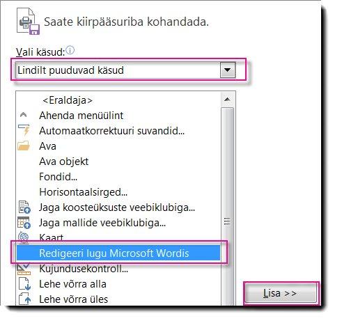 Nupu Redigeeri lugu Microsoft Wordis lisamine Publisheri kiirpääsuribale.