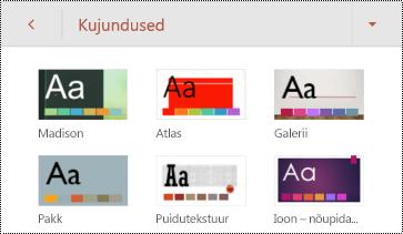 Androidi jaoks mõeldud PowerPointi slaidide teemad.