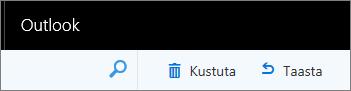 Kuvatõmmisel Outlooki veebirakenduse tegumireal suvandid Kustuta ja Taasta.