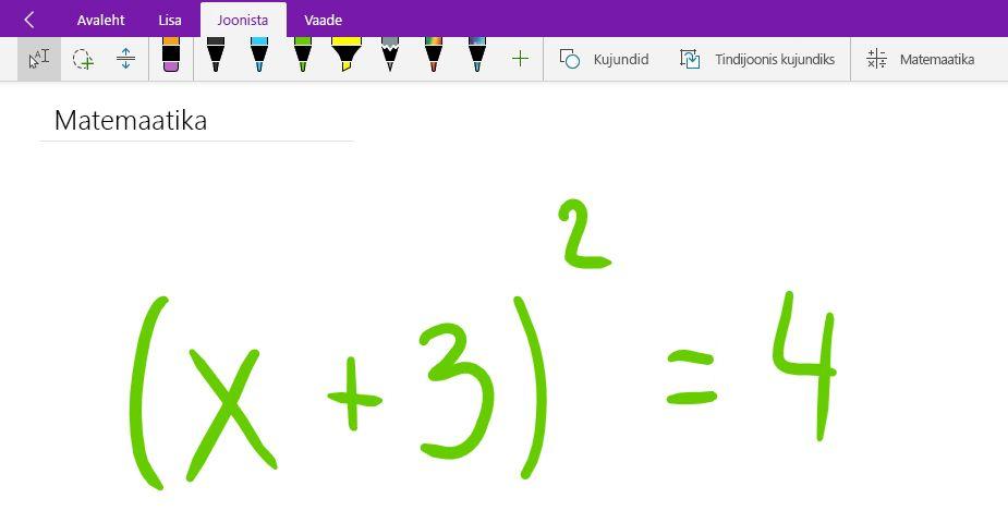 Matemaatikavõrrandi kirjutamine Windows 10 jaoks loodud OneNote'is