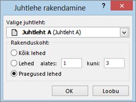 Screenshot kuvab dialoogiboksi Juhtlehe rakendamine.