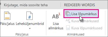 Insert Endnote button in Word ONline