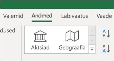 Menüü andmed, kus on kuvatud varud ja geograafilised andmetüübid