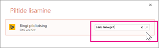 Klõpsake Bingi äärise lõikepiltide otsimine