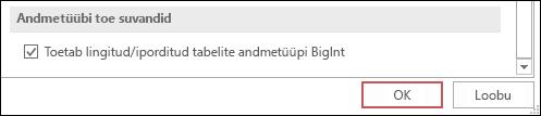 Kuvatõmmis Accessi suvanditest, kus on valitud BigInt-tüüpi andmete tugi lingitud/imporditud tabelite jaoks.