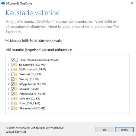 OneDrive'i failide sünkroonimine
