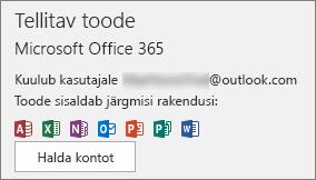 Kuvatakse Office'iga seotud meilikonto