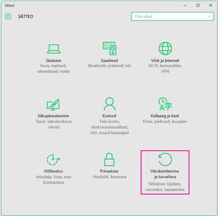 Windowsi värskenduste määramine opsüsteemis Windows 10
