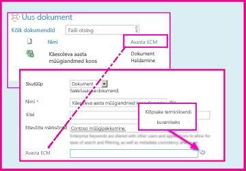 Hallatavate metaandmete veerus saavad kasutajad dokumendi atribuutide abil valida veergu lisatavaid eelmääratletud väärtusi.